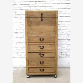 China semi high chest of drawers with writing professional office cabinet pine