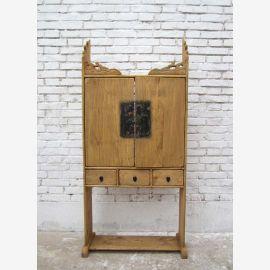 China Shanxi bright 1890 classic house shrine poplar wood shelf