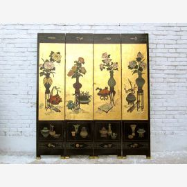 A classic Chinese filigree painted folding screen room divider painted pine wood