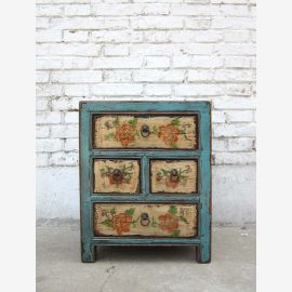 Small chest of drawers China four drawer cabinet light blue painted pine