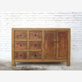 China pretty dresser with six drawers and double door pine rustic