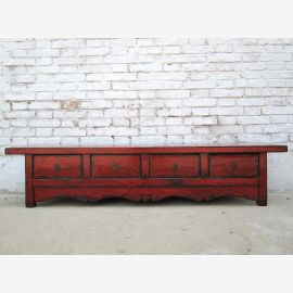 China lowboard wide chest of drawers ideal for flat brown red pine