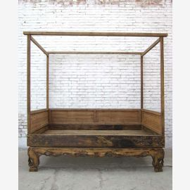 1810 China's Shanxi double bed with roof rack unique piece of elm