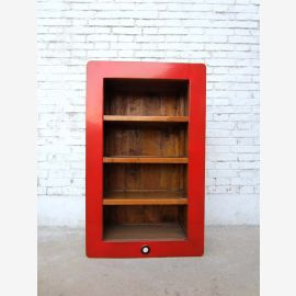 China mean (i- shelf ) with three shelves and red painted pine wood frame