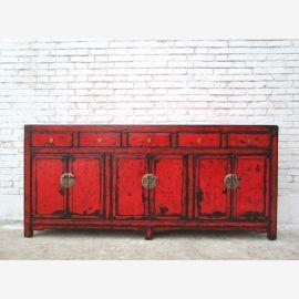 China breite Kommode Kredenz Schubladen und Türen rotbraun lackierte Pinie