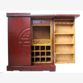 Chinese bar cabinet made of natural wood with traditional carvings