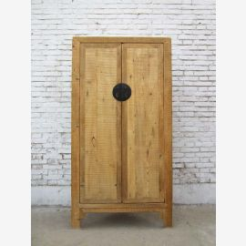 China natural pine corner cupboard with two doors with metal fitting