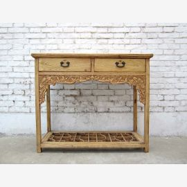 1860 Shanxi China small desk wardrobe rich carving table light pine