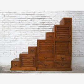 China's large chest of drawers hellbraunbeidseitig openable stairs steps