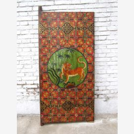 70 years old China tiger mural painted antique classic on painted wood scene