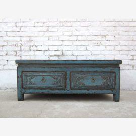 China low dresser drawers bench seat light blue pine 80 years