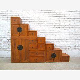 China stair steps dresser flat shape light brown under ideal slopes