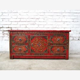 China small pantry for 80 years lowboard flat screen TV rustic painted pine