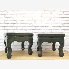 China antique small antique green stool in traditional design pine wood