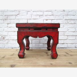 China antique small stool in traditional design and brown - red surface of elm