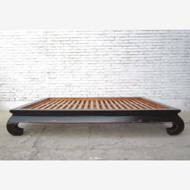 Chinese opium bed wide bed Double bed with slatted black elm
