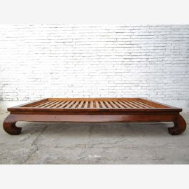 Chinese opium bed wide bed Double bed with slatted brown varnished elm