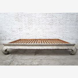 Chinese opium bed wide bed Double bed with mattress white elm
