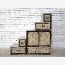 China small chest of drawers white limed many stairs on both sides openable drawers under bevels