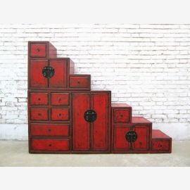 China wide staircases brown dresser drawers on both sides openable under many slopes