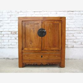 China pretty rustic light pine chest of drawers square shape metal fitting