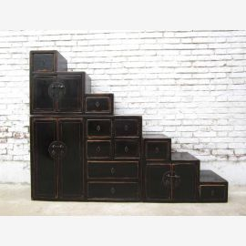 China's large stages many drawers chest of drawers black-brown on both sides openable