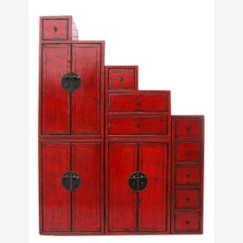 China high levels of reddish brown chest of drawers many on both sides openable under stairs