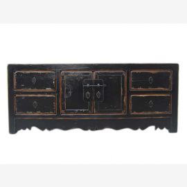 China classic flat chest of drawers circa 1920 brass black lacquer