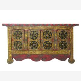 China Tibet 1910 old chest with intricate ornate painting