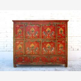 China Tibet 1900/2 high chest of drawers dresser credenza red painted pine