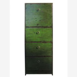 China high dresser drawer tower antique green 4 drawers surface
