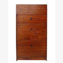 China slim shoe cabinet 3 drawers wide red-brown pine antique