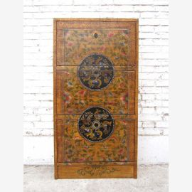 China beautiful semi-high cabinet sideboard pine wood golden brown classic painting of Luxury Park