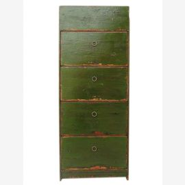 China shoe cabinet pine green 4 wide drawers and lateral thrusts