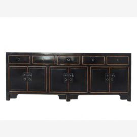 China Lowboard flat black sideboard ideal for flat panel pine