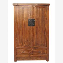 China cabinet half-height double leaf dark pine brass fitting