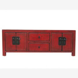 China Lowboard low chest ideal for flat brown red pine