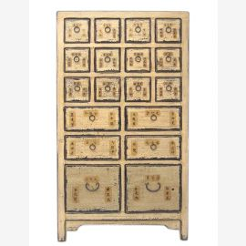 China high apothecary cabinet high board pine nature with 18 drawers