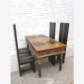 China high table dining table turned legs painted rustic pine wood