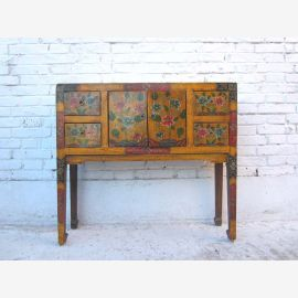 Tibet finely painted sideboard dresser floral motifs on pine 80 years