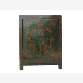 China small chest of drawers bedside cabinet pine surfaces in green and gold