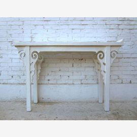 small slender console table pine shelf creamy white antique China
