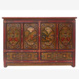 China Tibet 1910 wide dresser sideboard in traditional painting