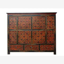 Tibet 1910 wide dresser sideboard in traditional painting