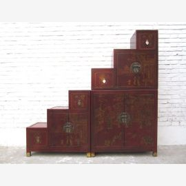 China Stairs dresser cabinet reddish brown antique finish solid wood