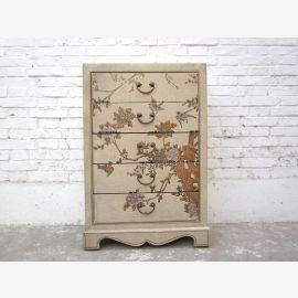 Asia chest of drawers painted creamy white leather look pine