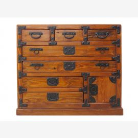 China small chest of drawers pine body honey