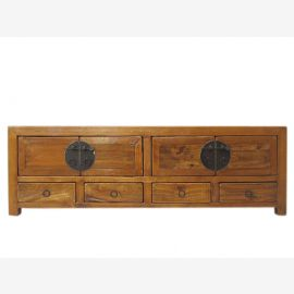 China wide chest of drawers elegant appearance with drawers and doors natural brown pine