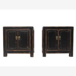 China small bedside cabinet chest of drawers pair of solid old pine