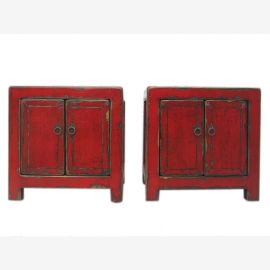 China small bedside cabinet chest of drawers made ??of solid pair of old pine